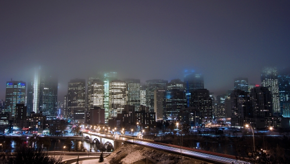 Fog hovers over Downtown Calgary